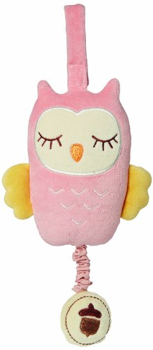 My Natural Owl Musical Pull Toy, Pink front-9057