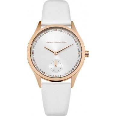 French Connection Reloj de cuarzo para mujer con blanco esfera analógica pantalla y correa de piel color blanco fc1272wrg