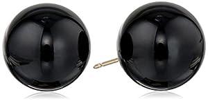 14k Yellow Gold 12mm Black Onyx Stud Earrings