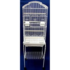 "Canary Parakeet Cockatiel Lovebird finch Bird Cages With Stand On Wheels - 18""x14""x60"" 6804/SWHT"
