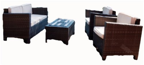 Luxus Lounge-Gruppe, Tisch + Sofa + 2 Sessel, inkl. Auflagen, Poly-Rattan mocca online bestellen