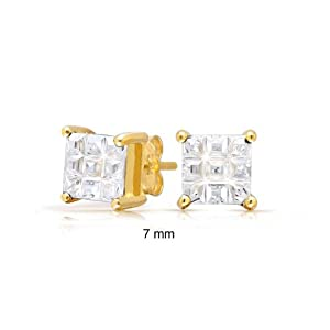 Bling Jewelry Invisible Cut Checkerboard Square CZ Vermeil Studs 7mm
