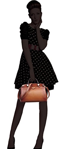 AB-Earth-Women-Genuine-Leather-Handbag-Top-handle-Tote-Cross-Body-Shoulder-Messenger-Bag-M803Brown