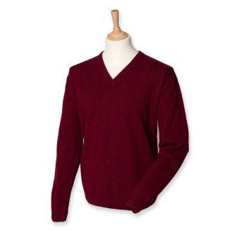 Henbury H730 Mens Lambswool V Neck Jumper Burgundy XL