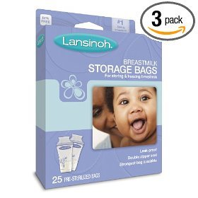 Lansinoh Breastmilk Storage Bags, 25-Count Boxes (Pack of 3) - 1