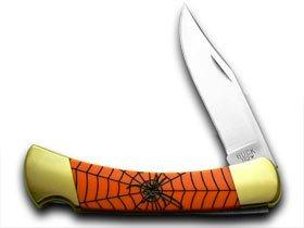 Buck 110 Custom Orange Corelon Spiderweb 1/400 Hunter Pocket Knives