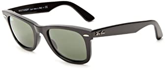 Ray-Ban RB2140 Original Wayfarer Sunglasses 50 mm,Black frame/Crystal Green lens