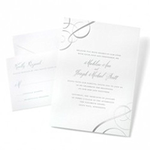 Gartner Studios Silver Foil Swirls Invitations White 50 ct (16120)