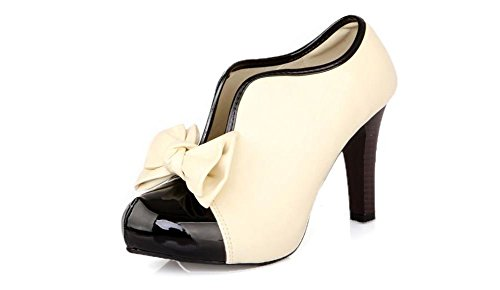 LATH.PIN Classic Vintage Womens Pumps High Heels Ankle Boots Cream Party Bridal Wedding Shoes with Bow 0