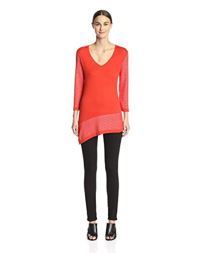 Cullen Women's Mesh Sleeve Tunic with Slant Hem