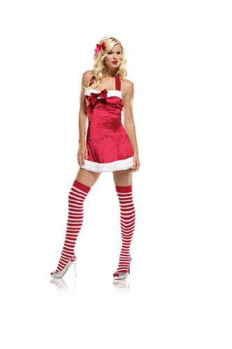 Sexy  Christmas Womens Costumes Red Mrs. Santa Claus Holiday Dress