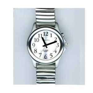 Man's Chrome Talking Watch with Silver Face 1 Button, Expansion Band
