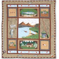 "Gone Fishing Quilt Queen/Full 85""x 95"" QQGOFI by Patch Magic"