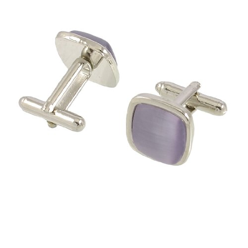 Allegra K Pair Mauve Square Beaded Men Shirt Suit Party Wedding Cuff Links Gift
