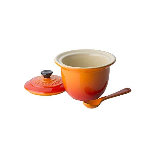 Le Creuset Pot à condiment en céramique avec cuillère Volcanique 0,2l