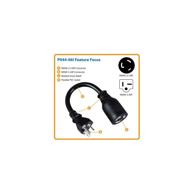Tripp Lite P044 06I 6 inch 12AWG Heavy Duty Power Adapter cord (NEMA L5 20R to NEMA 5 20P)