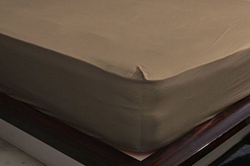 500-Thread-Count Egyptian Cotton Super Soft Extra Deep Pocket Fitted Sheet/Bottom Sheet King/Eastern King Solid Taupe Fit Up to 21