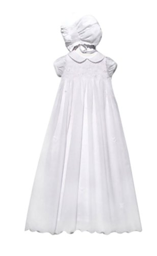Newborn Baptism Blessing Smocked Embroidered Christening Gown For Girls