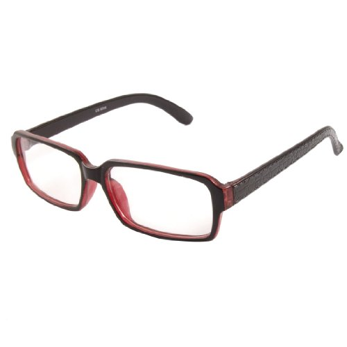Burgundy Crocodile Pattern Arms Clear Lens Plain Glasses Eyeglasses for Lady