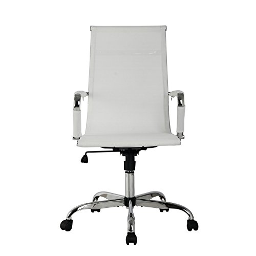 SL Modern High Back Ribbed Upholstered Leather Executive Swivel Office Chair With Metal Frame, Tilt and Chrome Base(White)