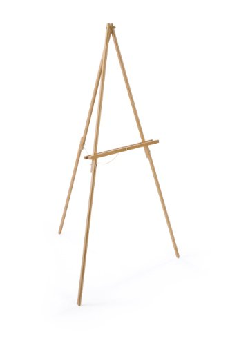 Wooden, 59.5 inch tall Foor Easel for Displaying Artwork - Natural Wood