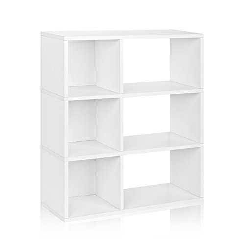 Way Basics Eco 3 Shelf Sutton Bookcase and Cubby Storage, White (made from sustainable non-toxic zBoard paperboard) Basic 3 Shelf Bookcase