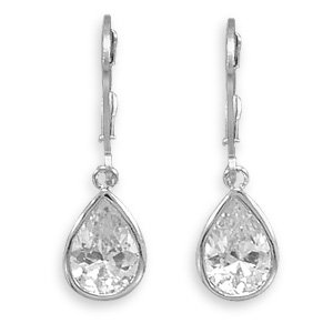 Rhodium Plated Lever Back Earrings with 9x13mm Pear CZ Drops