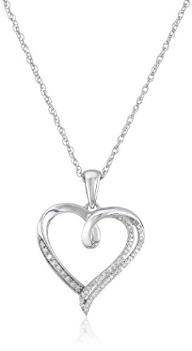 Sterling Silver Diamond Heart Pendant Necklace (1/10 cttw), 18""