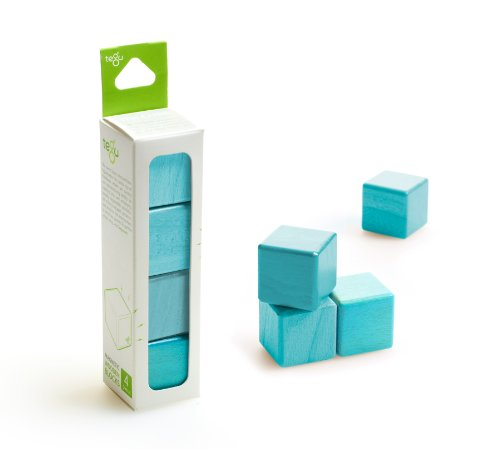4 Piece Tegu Magnetic Wooden Block Cube Set, Blue