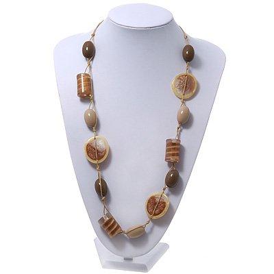Long Resin Beige/Coffee Geometric Bead Cord Necklace - 94cm Length