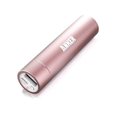 Anker® Astro Mini 3000mAh Ultra-Compact Portable Charger Lipstick-Sized External Battery Power Bank Pack for iPhone 5S, 5C, 5, 4S, Galaxy S5, S4, S3, Note 3, Nexus 4, HTC One, One 2 (M8), Nokia Lumia 520, 1020, most other Smartphones (Apple Adapters- 30 pin and Lightning, NOT Included) - Pink