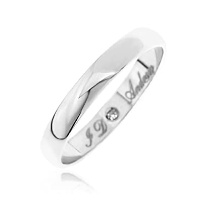 Kareco 9ct White Gold Diamond Set Wedding Band Ring 3mm Message 'I Do'
