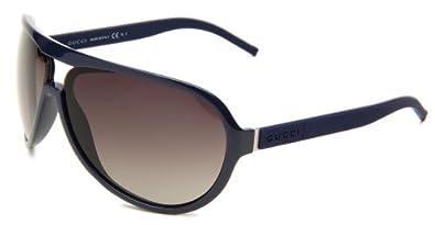 Gucci Men's 1639/S Wrap Sunglasses,Blue & Metallic Palladium Frame/Brown Grey Gradient Lens,One Size