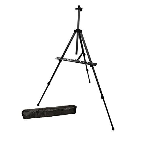 US Art Supply® BLACK PISMO Lightweight Aluminum Field Easel – Great for Table-Top or Floor Use – FREE CARRY BAG