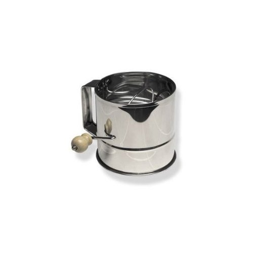 Large Stainless Steel Flour Sifter with Rotary Crank, 8 Cup Capacity