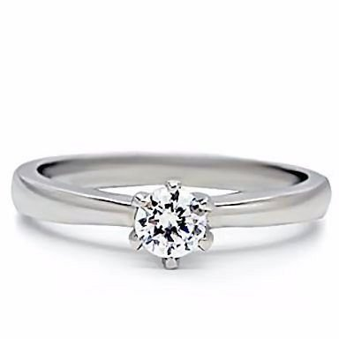 316 Stainless Steel 0.50ct Russian Ice on Fire Diamond CZ Solitaire Promise Friendship Ring Maylene (sizes 5 to 10) sz 10.0