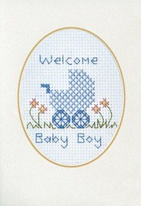 Baby Boy Greeting Card Kit and Gift Tag - Cross Stitch Kit
