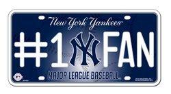 #1Lic. New York Yankees #1 Fan License Plate-Metal