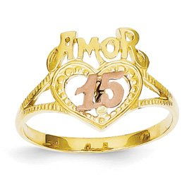 Genuine IceCarats Designer Jewelry Gift 14K Two-Tone Amor 15 Heart Ring Size 7.00