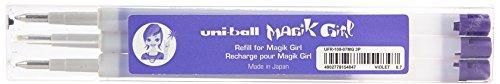 Uni-Ball Magik Girl UFR109/07 VT Set de 3 Recharges Roller 0,7 mm Encre Thermosensible Violet