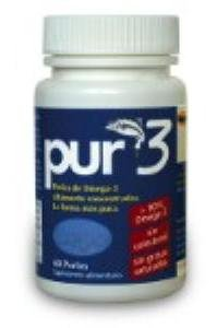 PUR-3 - 60 softgels of pure Omega-3 with more than 90% of essential fatty acids, promoting HEALTHY cardiovascular, joint, eye and brain functions. Each small 500mg capsule is easily ingested and digested, with no fishy taste. (Capsulas De Omega 3 compare prices)