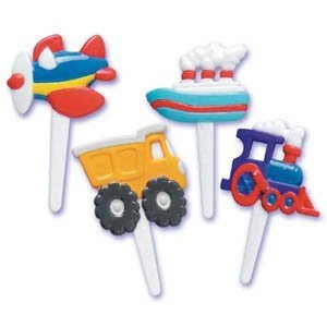 Transportation Theme Cupcake Picks (Airplane, Ship, Truck, Train) - Pack Of 24