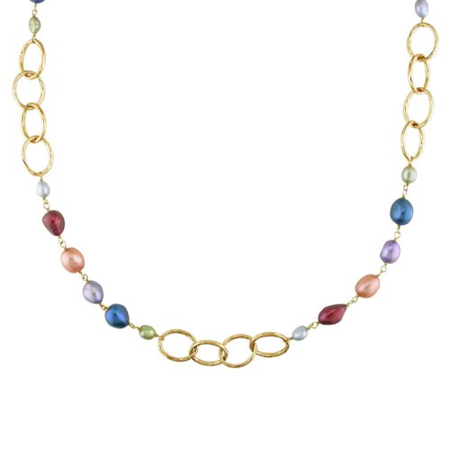Goldtone Multicolored Pearl Brushed Link Necklace (5-11 mm)