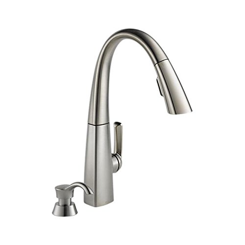 Delta 19936 Spsd Dst Single Arc Lever Handle Kitchen Faucet With Pull Down Spray And Remote Soap Dis