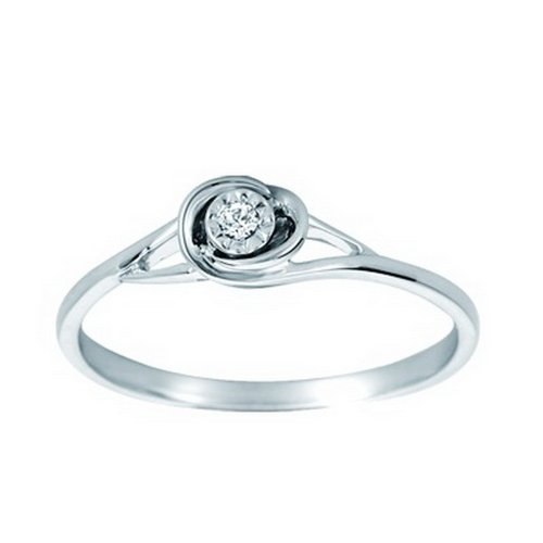 10K White Gold 0.02cttw Simply Charming Bezel Set Solitaire Round Diamond Enagement Ring