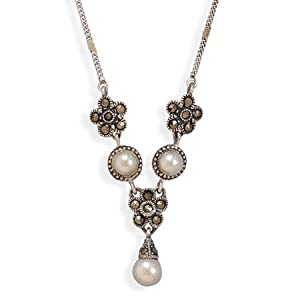 Sterling Silver Marcasite Necklace With Imitation Pearl Drop - JewelryWeb