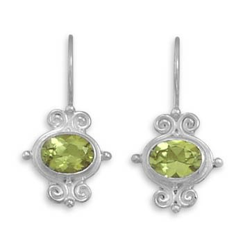 Oval Faceted Peridot Scrolled Earrings on French Wire