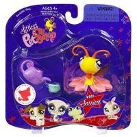 Littlest Pet Shop Assortment 'A' Series 1 Collectible Figure Yellow Butterfly with Flower Perch and Watering Can