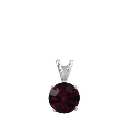 Sterling Silver Basket Set 8mm Garnet Crystal Birthstone Pendant
