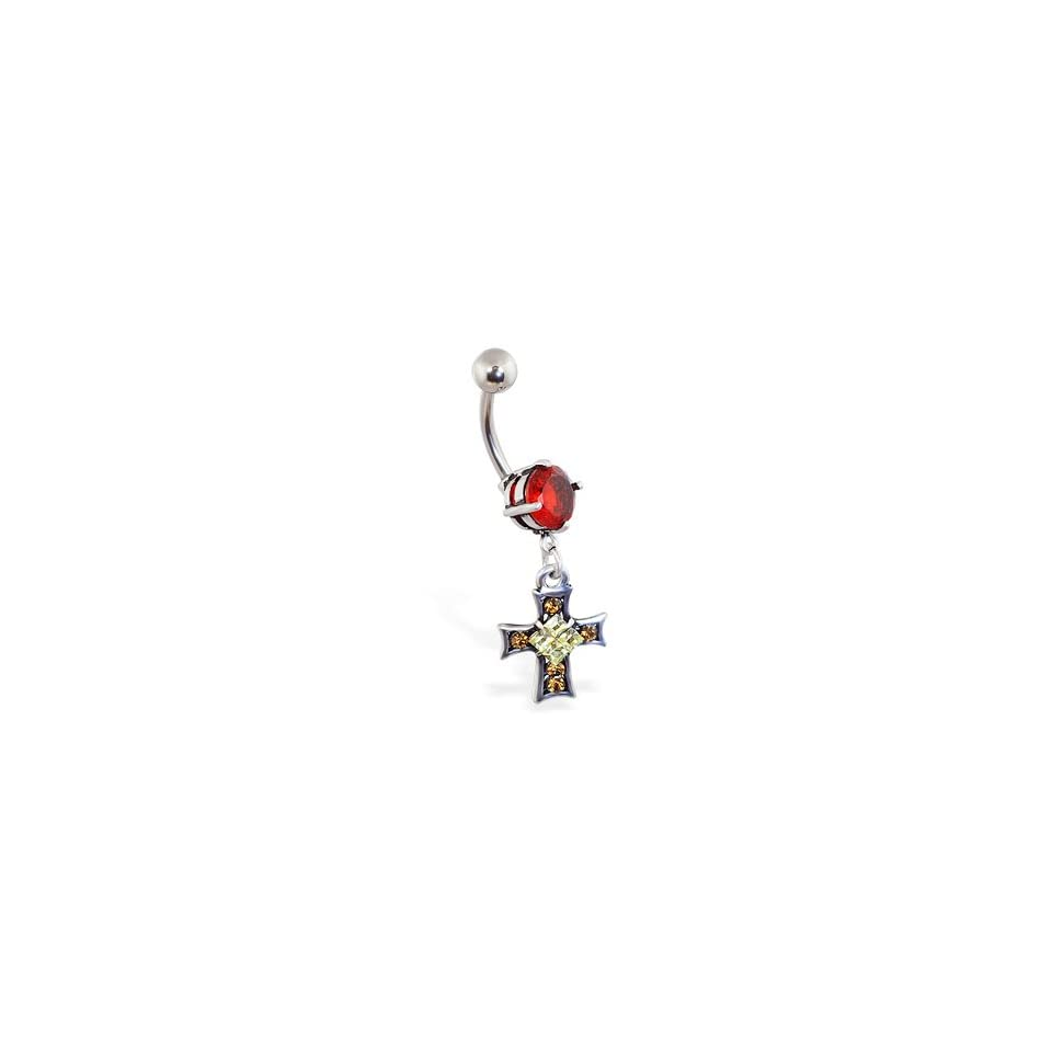 Red jeweled belly ring with dangling jeweled gothic cross
